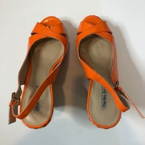 Charles David orange patten slingback platforms